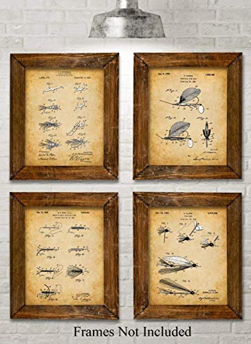 Fly Fishing Trout Prints - Original Fly Fishing Lures Patent Art Prints - Set of Four Photos (8x10) Unframed - Makes a Great Gift Under $20 for Fly Fishermen, Cabin or Lake House Decor
