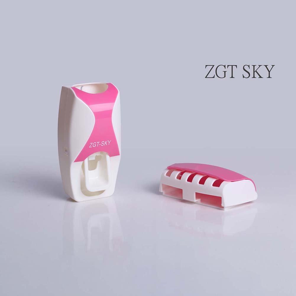 RENNICOCO Automatischer Zahnpasta-Spender 5 Zahnb/ürstenhalter Set Wandhalter Weinrot Rose