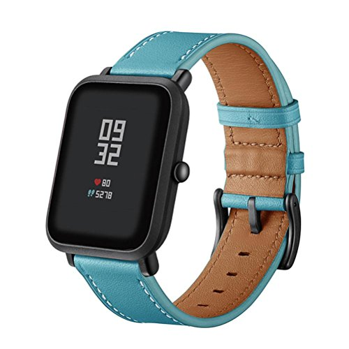 - AutumnFall Amazfit Bip Wristbands, New Style Leather Watch Band Wrist Straps Bracelet for Xiaomi Huami Amazfit Bip Youth Watch (Sky Blue)