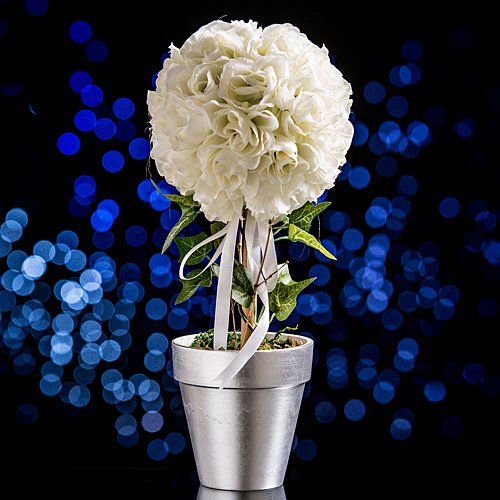 Rose Topiary Centerpiece White (Rose Make Topiary)