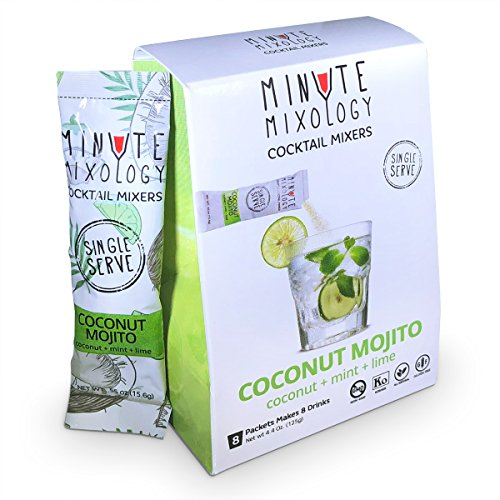 Minute Mixology Cocktail Mixers - Low Calorie, All Natural Ingredients - Drink Mix for Liquor/Spirits and Non-Alcoholic Beverages (Coconut Mojito, 16 Packets) - Mix Orange Vodka