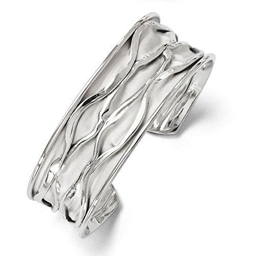 22mm Bracelet jonc en argent 925/1000rhodié petit concave peluche