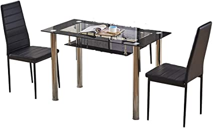 Ansley Hosho Black Glass Dining Table And Chairs Set Of 2 For Small Kitchen Dinette 3 Piece Contemporary Tempered Glass Rectangular Table And 2 Black Faux Leather Chairs For Dinette Space Saving Amazon Co Uk
