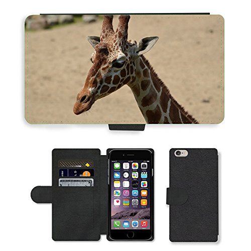 Just Phone Cases PU Leather Flip Custodia Protettiva Case Cover per // M00128073 Girafe Giraffa camelopardalis animale // Apple iPhone 6 PLUS 5.5""