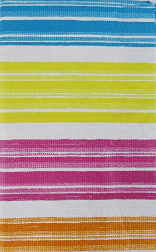 Summer Fun Color Streaks with Zipper Umbrella Hole Vinyl Flannel Back Tablecloth (70 Round)