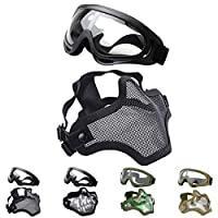 Outgeek Airsoft Media máscara facial, malla de acero y juego de gafas (negro)