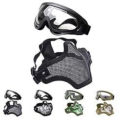 Color: Mask: black, Goggles: blackandlt;br /andgt; Material: Mask: low-carbon steel, Goggles: ABS (Acrylonitrile Butadiene Styrene) plasticandlt;br /andgt; Size: Mask: 19.5*14*13.5cm(7.6*5.5*5.3), Goggles: 17.6*7.8cm(6.9*3.0in)andlt;br /andgt...