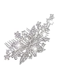 Ever Faith Bridal Triple Flower Leaf Clear Austrian Crystal Hair Comb