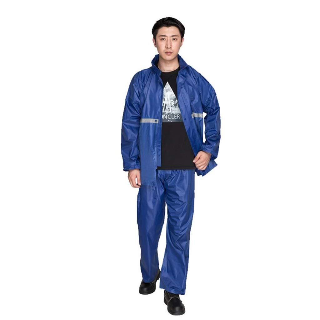 Royal bleu XXXL LCPG Veste imperméable imperméable pour Homme avec Veste imperméable - Veste à Capuche Rabattable, Manteau pour Hommes à Haute visibilité, Veste de Pluie légère (Couleur   Lake bleu,