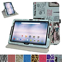 "Acer Iconia One 10 B3-A30 Rotating Case,Mama Mouth 360 Degree Rotary Stand With Cute Lovely Pattern Cover For 10.1"" Acer Iconia One 10 B3-A30 Android Tablet, Newspaper"