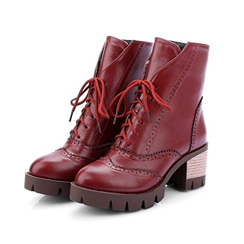 AgooLar Women's Lace up Round Closed Toe Kitten Heels Mid Top Boots Claret ly6jxlYG