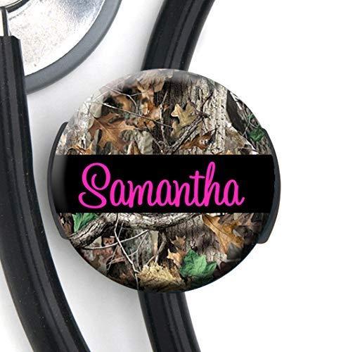 Yoke Stethoscope Tag Personalized Name HM Camo Pink Text Steth ID Tag//Nurse Badge