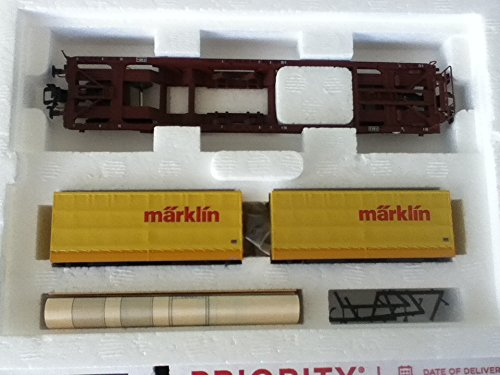 (Marklin HO DEEP Well 4 AXELS Flat CAR with 2 Interchangeable Transport Units 47442)