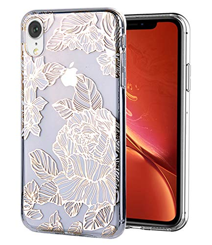 Design Flower Iphone - WALAGO iPhone XR Case Clear Design Shiny Gold Foil Roses Flower for Girls Flexible Bumper TPU Soft Rubber Silicone Cover Phone Case for iPhone XR 6.1 inch