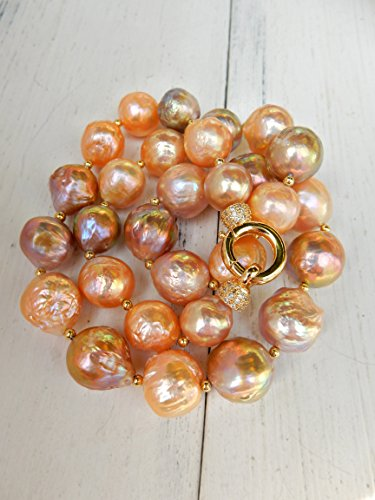 Baroque Pearl Necklace, Multi-color Pearl, OOAK, Handmade,