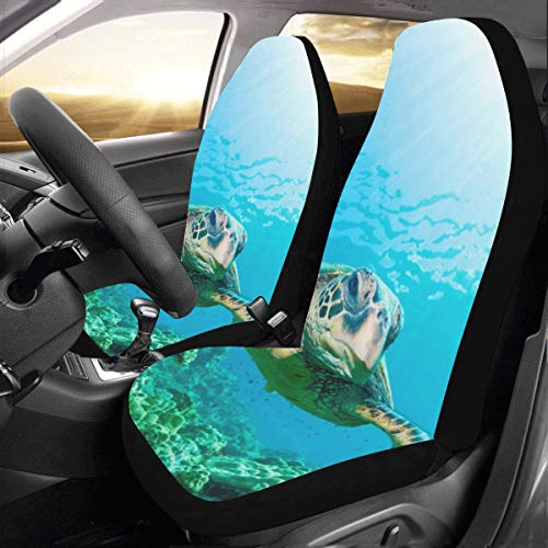 Flexible Turtle in Blue Ocean Custom New Universal Fit Auto Drive Car Seat Covers Protector for Women Automobile Jeep Truck SUV Vehicle Full Set Accessories for Adult Baby (Set of 2 Front)