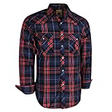 Coevals Club Men's Long Sleeve Casual Western Plaid Snap Buttons Shirt (L, 12#red,black)