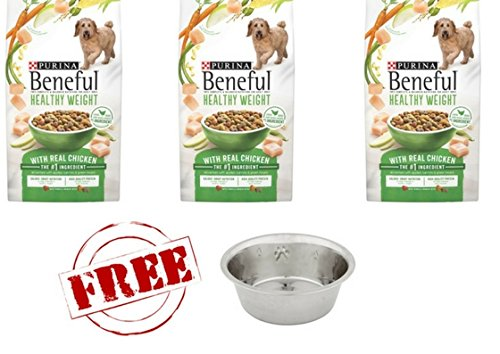 Purina Beneful 3 Bag Healthy Weight With Real Chicken Adult Dry Dog Food With Free Bowl