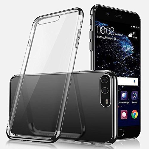 Huawei P10 Hülle,Huawei P10 Silikon Hülle,SainCat Plating TPU Handyhülle mit Überzug Farbig Rahmen Transparent Zurück Ultra dünne Crystal Clear TPU Durchsichtige Schutzhülle Durchsichtig Handytasche S Schwarz