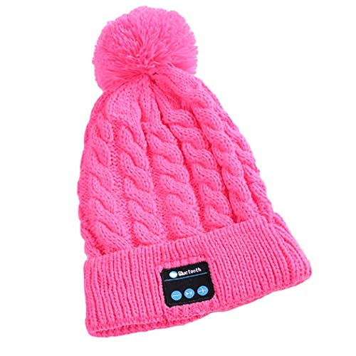 TLMYDD Fashion Knit Hat Wireless Headset Bluetooth Cap Easy to Remove and Wash Bluetooth Earphone (Color : Pink)