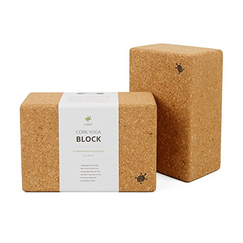 Yoga Blocks 2 Pack Set Cork, Sturdy, Durable, Studio Size Large Yoga Props
