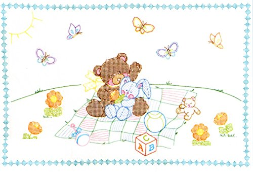 Jack Dempsey Needle Art 4060509 Crib Quilt, Top Bear and Bunny, 40-Inch by 60-Inch, White