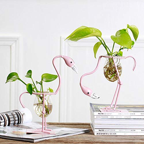 Home Decoration Crafts Flamingo Hydroponic Vase Glass Container Living Room Wine Cabinet Flower Home Decoration@B