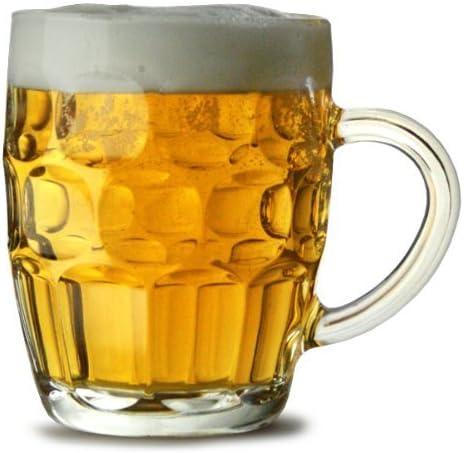 Tradicional Vidrio Pinta Jarras de cerveza CE - Juego de 2 También conocido como Hoyuelos Jarra Cerveza, Britannia pinta Taza, Jarra De Cerveza, jarra de cerveza: Amazon.es: Hogar