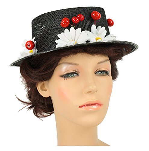Black Mary Poppins Hat (Women's Mary Poppins Hat with Cherries and Daisies (One Size))