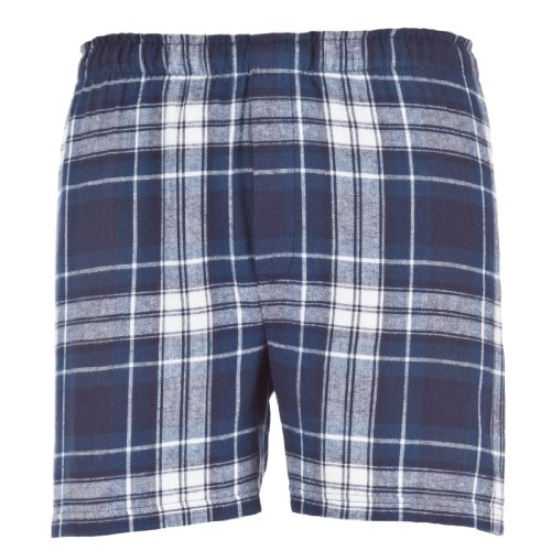 BoxerCraft Men's Flannel Boxers with Covered Waistband, X-Large, Navy/White (Boxer Short Flannel White)