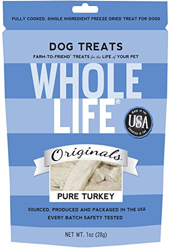 Whole Life Pet Single Ingredient USA Freeze Dried Turkey Treats for Dogs, 1-Ounce