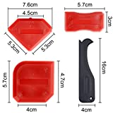 Outus 5 Pieces Sealant Tool Caulking Tool Silicone Remover Sealing Tool for Bathroom Kitchen Home Sealing Projects (Red)