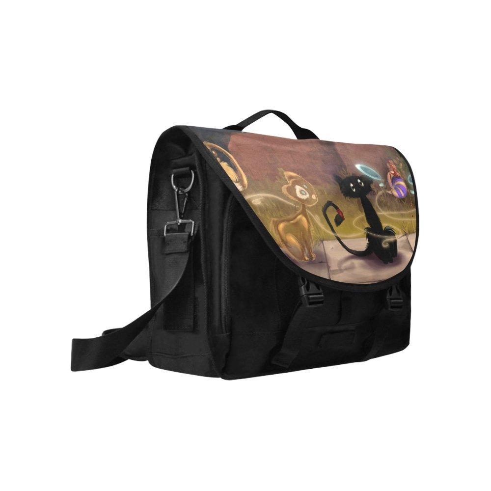 Kitchor Custom Cat Drawing Oxford Fabric Laptop Messenger Shoulder bag
