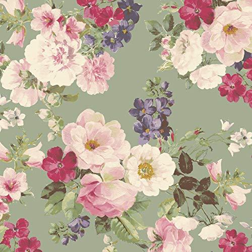 Quilt Gate - Ruru Bouquet Suzonne Floral Rose Bouquet Green Cotton Fabric by Quilt Gate