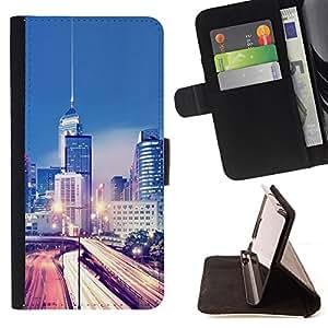 BullDog Case - FOR/Sony Xperia Z1 L39 / - / Modern City Traffic Lights /- Monedero de cuero de la PU Llevar cubierta de la caja con el ID Credit Card Slots Flip funda de cuer