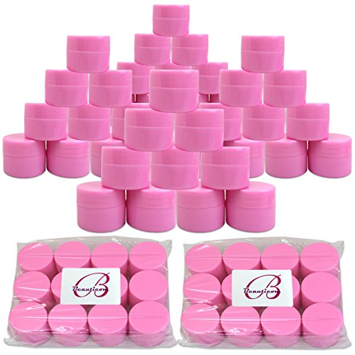 Beauticom 48 Pieces 7G/7ML (0.25oz) PINK Sturdy Thick Double Wall Plastic Container Jar with Foam Lined Lid for Scrubs, Oils, Salves, Creams, Lotions - BPA Free (Quantity: 48 Pieces) ()