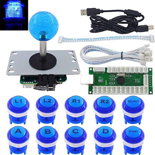 SJ@JX Arcade Stick DIY Kit 10x Buttons with Logo LED MX 8 Way Joystick USB Encoder for PC MAME Raspberry Pi Blue (Mame Pc)