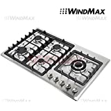 Windmax 34 Stainless Steel 5 Burner Stove LPG Cooktop-Ship within 24 hour #58020
