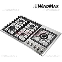WindMax® 34 Stainless Steel Circular Frame 5 Burners Stove NG/LPG Gas Cooktops Cooker