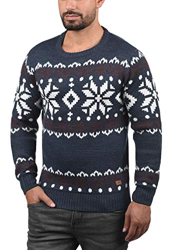 Melange Pour Rond Blue Avec 8991 Insignia Tricot Maille Pull Homme over Norwig En solid Pull Grosse Encolure FZ1T8fx
