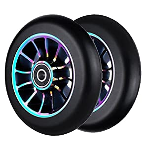 2Pcs 100 mm Pro Stunt Scooter Wheels with Abec 9 Bearings for MGP/Razor/Lucky/Envy/Vokul Pro Scooters Replacement Wheels
