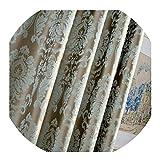 momolove European Damask Curtains for Living Room Luxury Jacquard Blind Drapes Window Panel Fabric Curtain for Bedroom,Blue,W100cmxL245cm,Rod Pocket