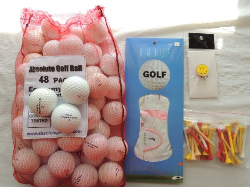 Ladies Gift Box With 36 Recycled Golf Balls In Mesh Bag With Free Tee's & Magnetic Smiley face Golf Ball Marker/Hat Clip & Pair of Womans Golf Gloves