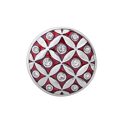 Quiges, Eligo Bijoux 30mm Argent Plaqué avec Crystal Red CZ Bouton Pression pour 30mm d'accrochage Bracelets Button