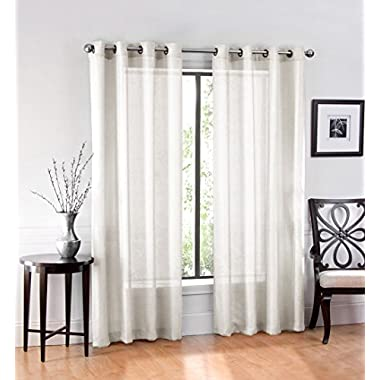 2 Pack: GoodGram Ultra Luxurious High Woven Elegant Sheer Grommet Curtain Panels - Assorted Colors (Ivory)