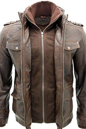 Hommes 100% en peau de mouton Marron en cuir nappa Veste matelassée