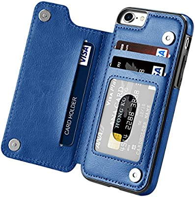 Amazon Com Iphone 7 Case Iphone 8 Case Iphone Se 2nd 2020 Hoofur Slim Fit Premium Leather Iphone 7 Wallet Cases Card Slots Shockproof Folio Flip Protective Defender Shell For Apple Iphone 7 8 Se2 Blue