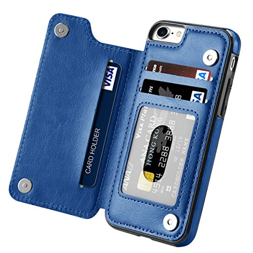 Leather Shell Case - iPhone 7 Case, iPhone 8 Case, Hoofur Slim Fit Premium Leather iPhone 7 Wallet Casae Card Slots Shockproof Folio Flip Protective Shell for Apple iPhone 7/8 (4.7 Inch) (Blue)