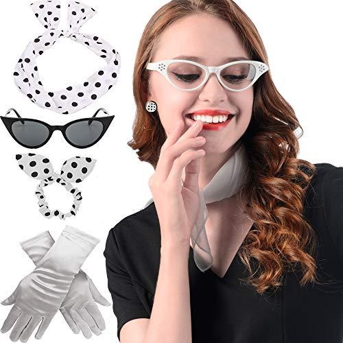 50's Costume Accessories Set - 50s Chiffon Scarf,Cat Eye Glasses,Bandana Tie Headband,Drop Dot Earrings,50s Style Gloves ()