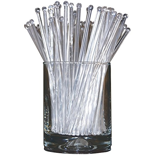 Royer 6 Inch Plastic Round Top Swizzle Sticks, Set of 48, Crystal - Made In (Glass Stir Sticks)